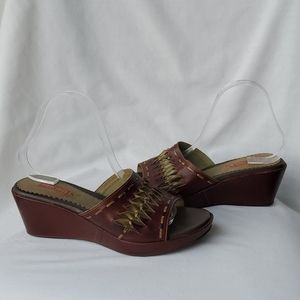 Pikolinos Brown and Green Wedge Slip-on size 40